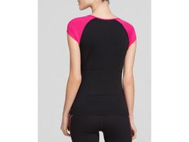 Spanx SA0115 Cap Sleeve Top Activewear Cell phone Pocket Pink Black XL - $44.54