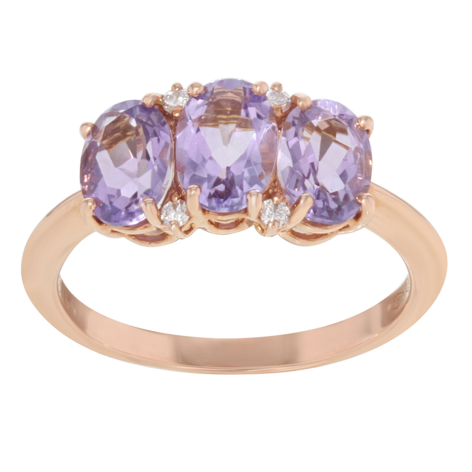 "Bliss by Damiani ""Marina"" Rose Gold 0.06 Cttw Diamonds 2.50 Cttw Amethysts Ring"