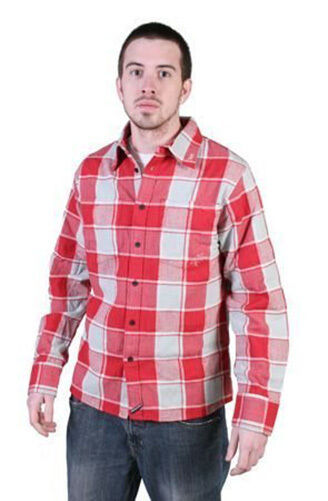 Tavik Mens Red Gray Checker Slacker Lumberjack Flannel Button Down Up Shirt NWT