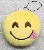 Emoji 3 In Tongue Emoticon Smiling Soft Cloth Yellow Key Chain Keychain New - $9.99