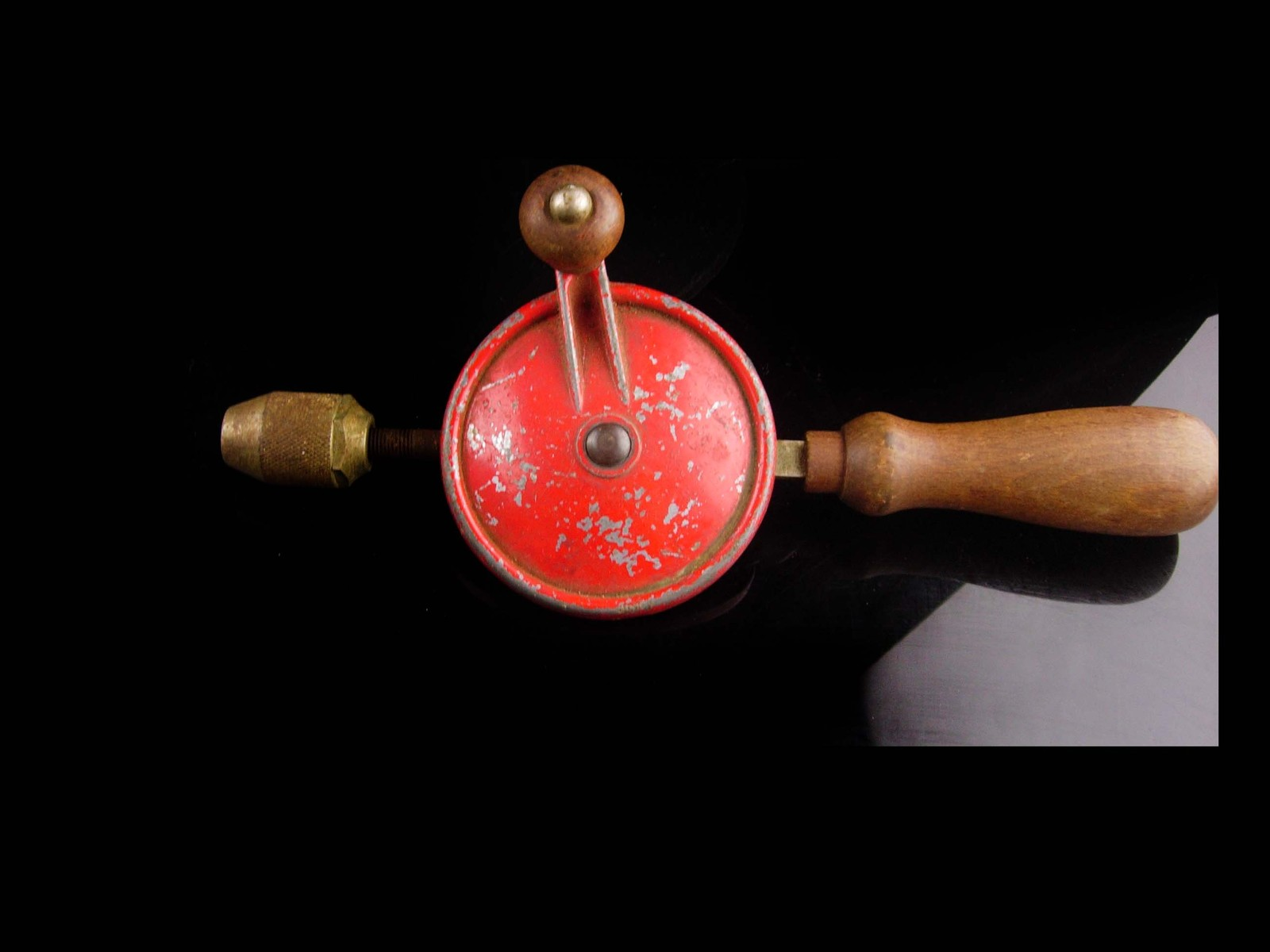 Vintage drill /  gift for him / Gear driven- hand tool - Red wood - woodworker g