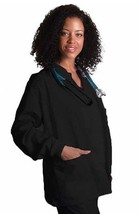 Scrub Jacket XL Black Adar Uniforms Warm Up Top Round Neck Women's 602 New - $19.37