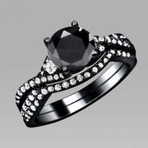 1.75 Ct Black & White Diamond Real 925 Silver Engagement Matching Bridal Set  - $94.99