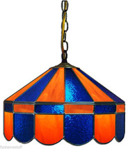 """BLUE & ORANGE 16"""" STAINED GLASS HANGING PUB TABLE ACCENT LIGHT FIXTURE BAR LAMP - €370,28 EUR"""