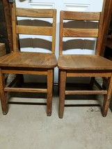 "Lot Of 2 Vintage 16"" KIDS CHILD Solid  Oak Wood  Library School  Study C... - $59.39"