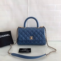 NEW AUTHENTIC CHANEL BLUE QUILTED CAVIAR LEATHER COCO HANDLE BAG GHW