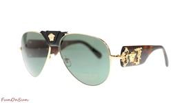 Versace Men's Pilot Sunglasses VE2150Q 100271 Gold/Green Lens 62MM Authe... - $152.29