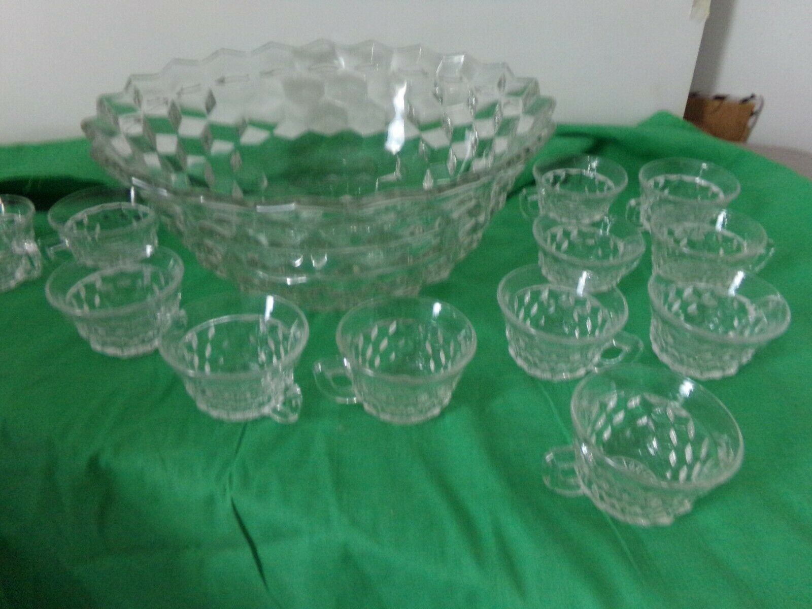 FOSTORIA AMERICAN PATTERN PUNCH BOWL with punch cups - $123.75