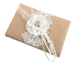 Lillian Rose Rustic Country Burlap Lace Wedding Guest Book - $21.23