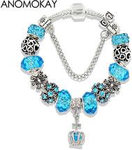 Dropshipping Blue Crown Glass Pandora Charm Bracelet Silver Color Heart ... - $29.38+