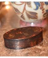 Antique Faux Tortoise Shell WOOD TRINKET SNUFF PILL BOX c.1848 ?  - $49.99