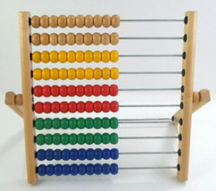IKEA Wood Abacus Educational Math Learn Count 10 Rows Colored Wood Beads - $14.99