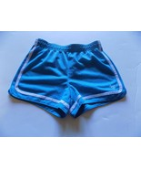 Size 10 Justice Mesh Athletic Running Shorts Turquoise Blue Fold Over Waist - $14.00