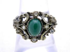 VTG Silver Tone VOGUE Signed Green Cabochon Rhinestone Filigree Ring Siz... - $19.80