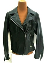 Harley Davidson Womens Jacket L Large Black Leather Fringe - $130.17