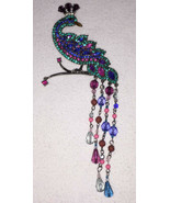 Peacock Brooch Pin Avon Colorful Rhinestones Dangle Beads Silver Tone Me... - $29.69