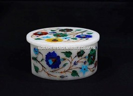 "4""x4"" Marquetry Multi Inlay Designer Marble Jewelry Box Unique Arts Decor H5517A - $247.96"