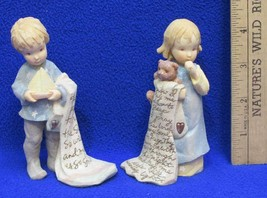 Foundations Figurines Girl w/ Bear Blanket & Boy w/ Sailboat Prayer Lot ... - $9.89