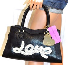 BETSEY JOHNSON Black Handbag Satchel LOVE Charm Crossbody Purse NWT - $72.26