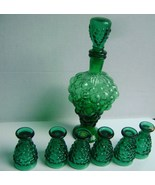 VINTAGE Italian Green Glass GRAPE CLUSTER Shaped WINE DECANTER CARAFE & ... - $15.00