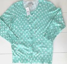 NWT Ann Taylor LOFT Women's Mint Green Dot Cardigan Sweater Size S New - $17.82