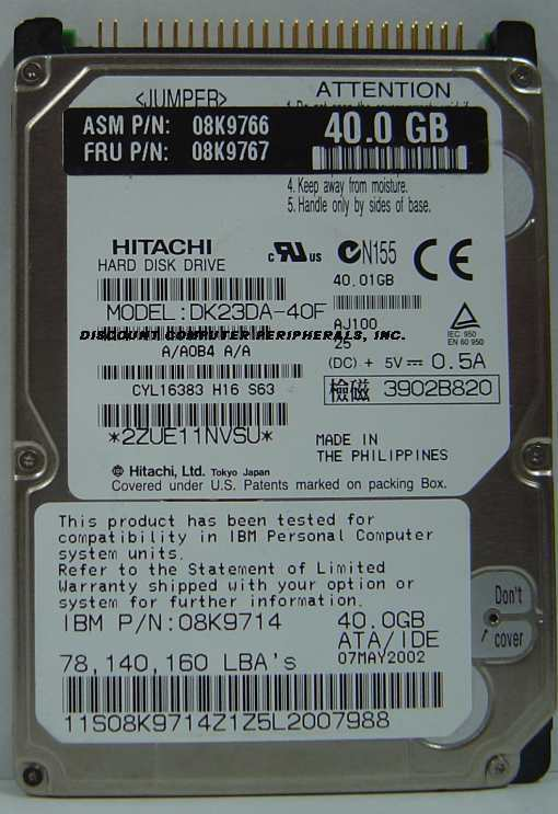 "40GB 2.5"" IDE Drive Hitachi DK23DA-40F Tested Good Free USA Ship Our Drives Work"