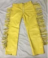 Men's New Native American Buckskin Tan Buffalo Leather Fringe Hippie Pan... - $141.67+