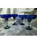 Margarita Glasses Blue Bowl White Swirl Mexican Hand Blown Glass Sea Gre... - $56.95