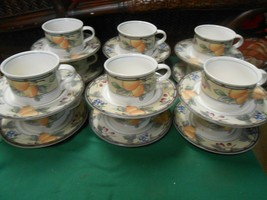 "Magnificent MIKASA ""Intaglio"" GARDEN HARVEST Set of 12 CUPS & SAUCERS - $93.64"