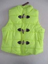 Arizona Jeans Juniors  Vest L Yellow Solid Sleeveless Puffed Wood Button... - $17.35