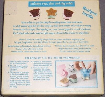 Williams Sonoma Ice Cream Sandwich Molds Set of 3 Cow Pig Star with Recipe