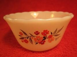 "Fire King 3.5"" Yogurt Custard Bowl Floral Flowers White [Z184] - $4.78"