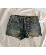 Universal Thread Women's Frayed Hem High-rise Button Fly Blue Jean Short... - $16.82