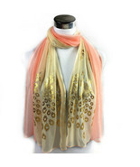 Block Colors Soft Light Peach and Sheer With Gold Foil Peacock - $6.18