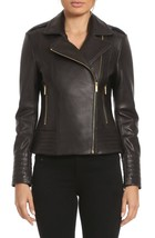 Motorcycle leather jacket women's Genuine Lambskin Biker Slim Fashion Ou... - $129.49