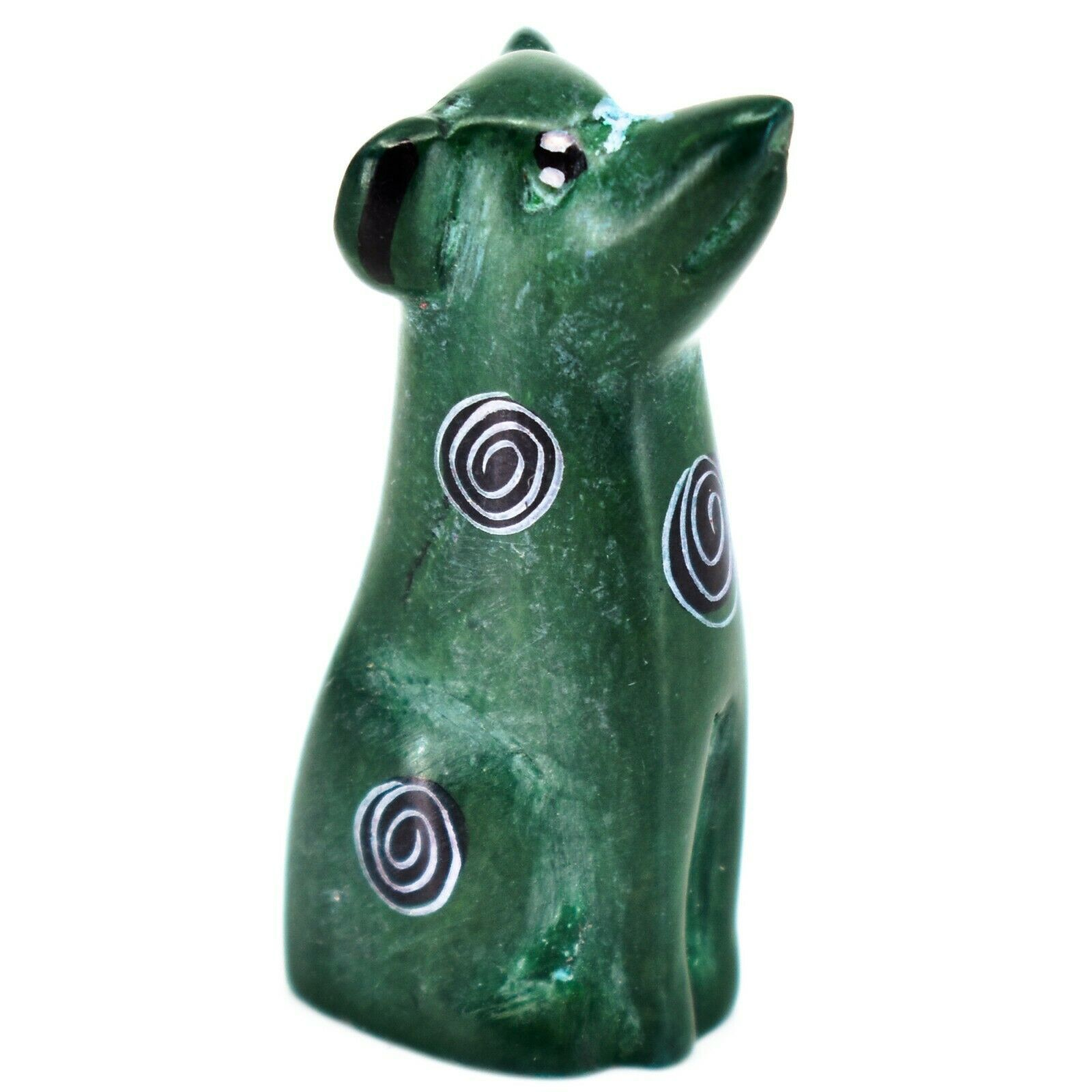 Vaneal Group Hand Carved Kisii Soapstone Green Puppy Dog Miniature Figurine