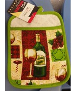 "1 Jumbo Printed Kitchen Pot Holder w/ Pocket (7"" x 9""), WINE & GRAPES, l... - $6.92"