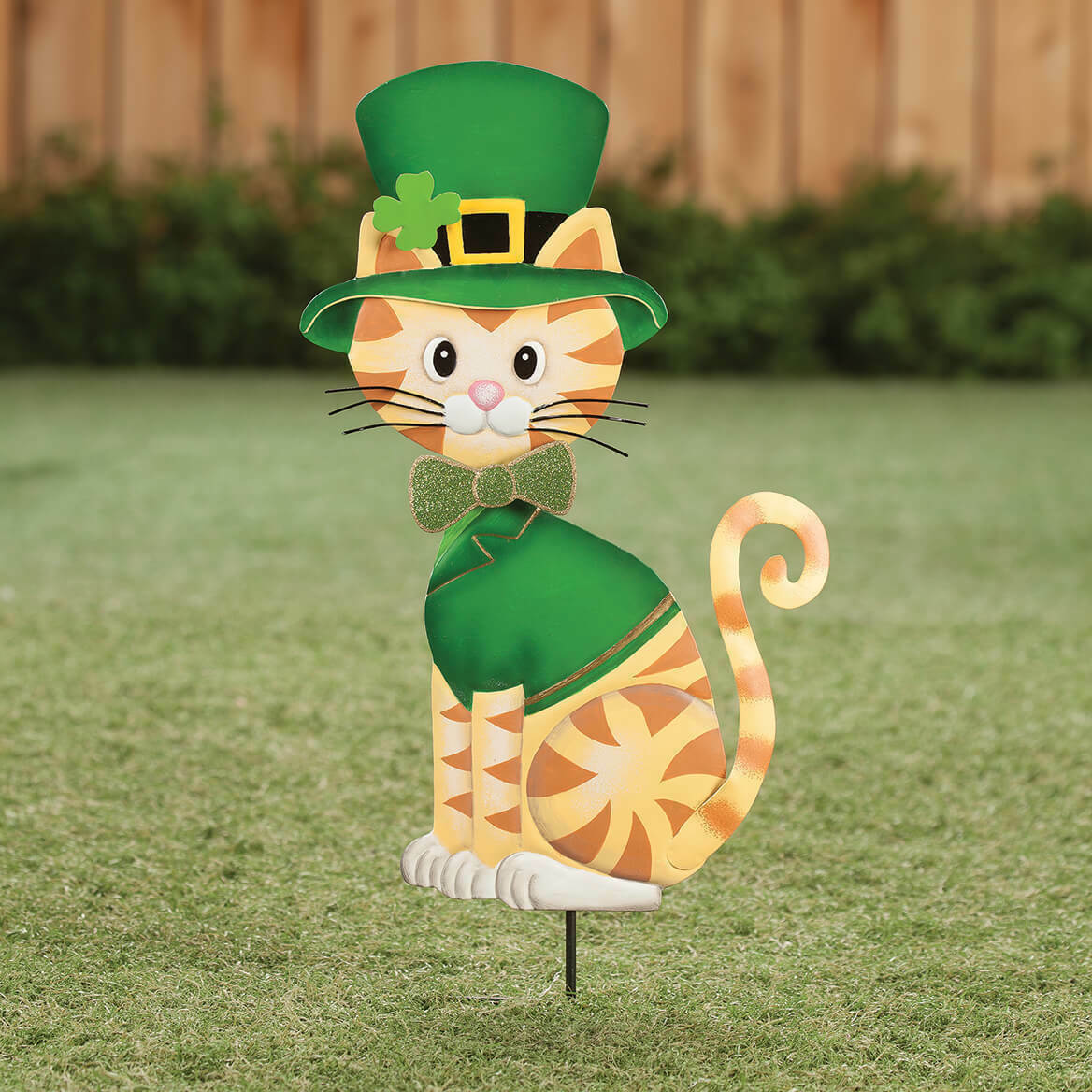 "Dressed Up St. Patrick's Day Cat - Garden Stake - Metal -11"" x 22"" Outside decor"