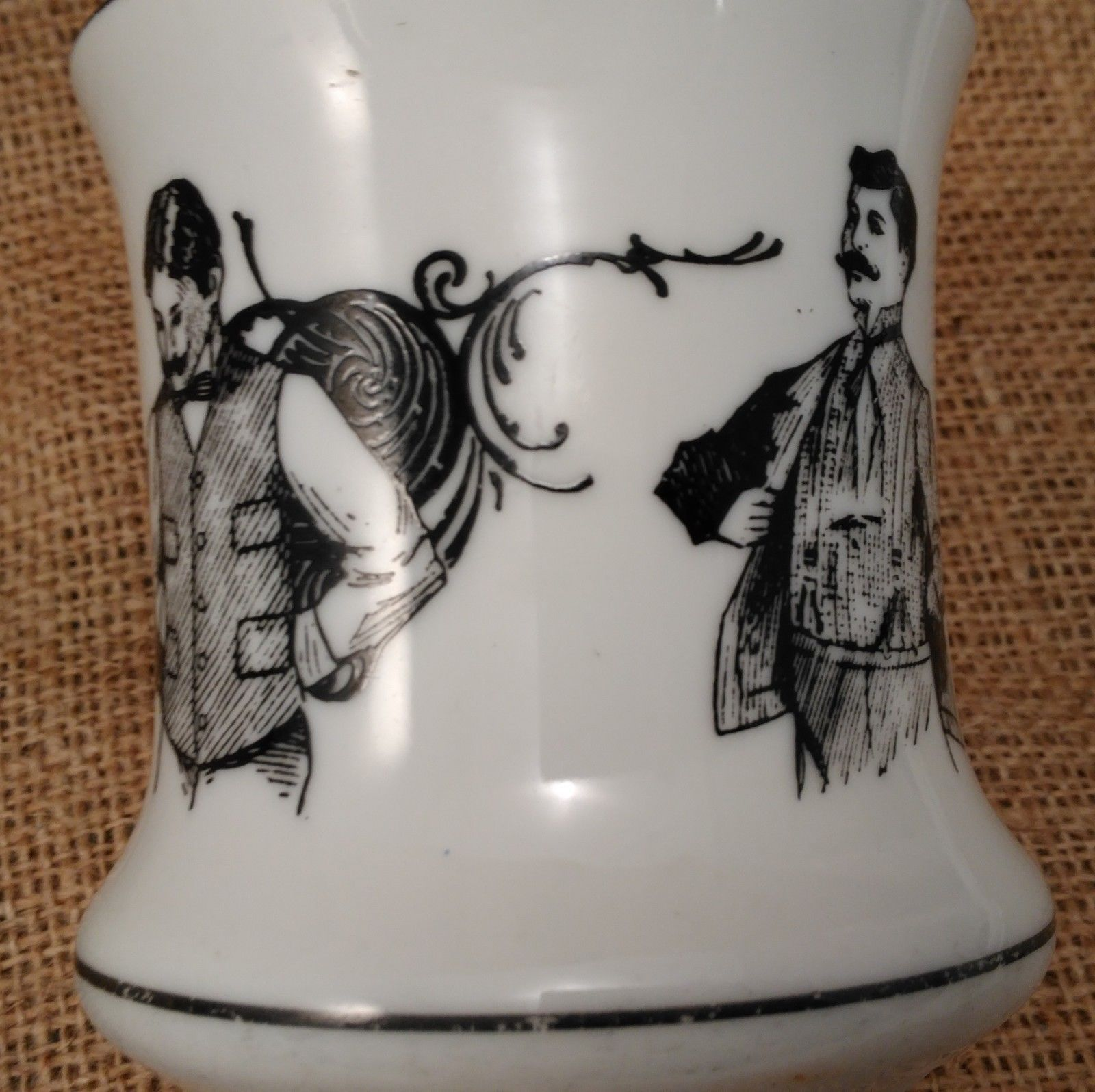 Mustache Cup Mug w/Four Victorian Men Barber Shop Quartet,  Japan