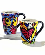 Romero Britto Set of 2 Ceramic Mugs - Deeply In Love & A New Day -12oz  #331351