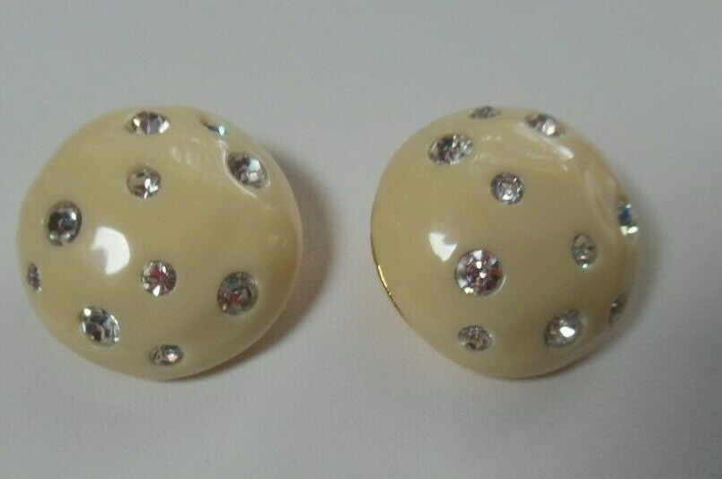 Primary image for Vintage Signed KENNETH LANE Gold-tone Cream Enamel Rhinestone Clip-On Earrings