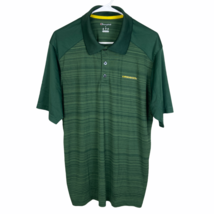 Oregon Ducks Champion Polo Shirt Large Heather Green Striped Yellow Dri Fit - $24.65