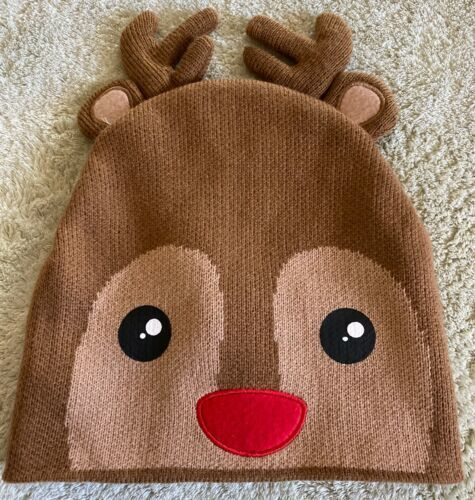 Primary image for NEW Accessory Innovations Brown Rudolph Reindeer Knit Beanie Kids Hat One Size