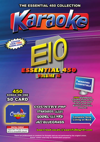 Primary image for Chartbuster Essential 450 Karaoke Songs Vol 10 SD Card or USB CDG Music 4 PLAYER