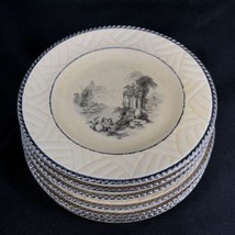 Set of 6 Sheffield Ware Plates 6 1/4 Ruins Center Silver Rope Border  - $19.79