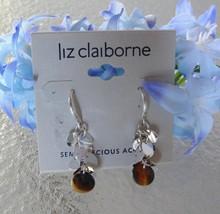"Liz Claiborne Silvertone Semi-Precious Accents Pierced Earrings 1"" NEW - $9.99"