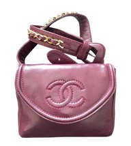 Vintage CHANEL wine fanny pack, leather belt bag with detachable chain b... - $1,562.00