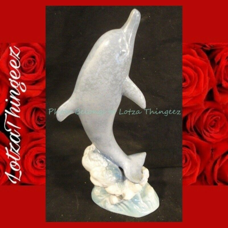 "11.5"" Blue Dolphin Ceramic Statue Figurine Jumping"