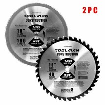 "2-Pack Toolman 10"" Circular Saw Blade 40T & 180T - $78.21"