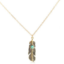 Long Necklace Feather Pendant Blue Stone Sizeable Unique Style Chic - $14.00